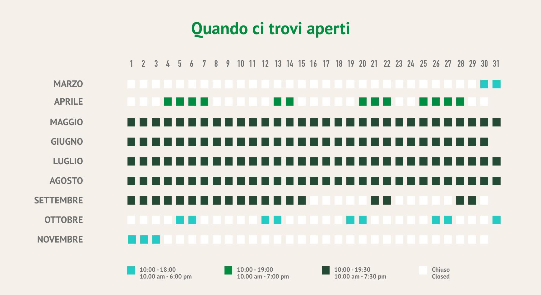 Calendario aperture Parco Avventura